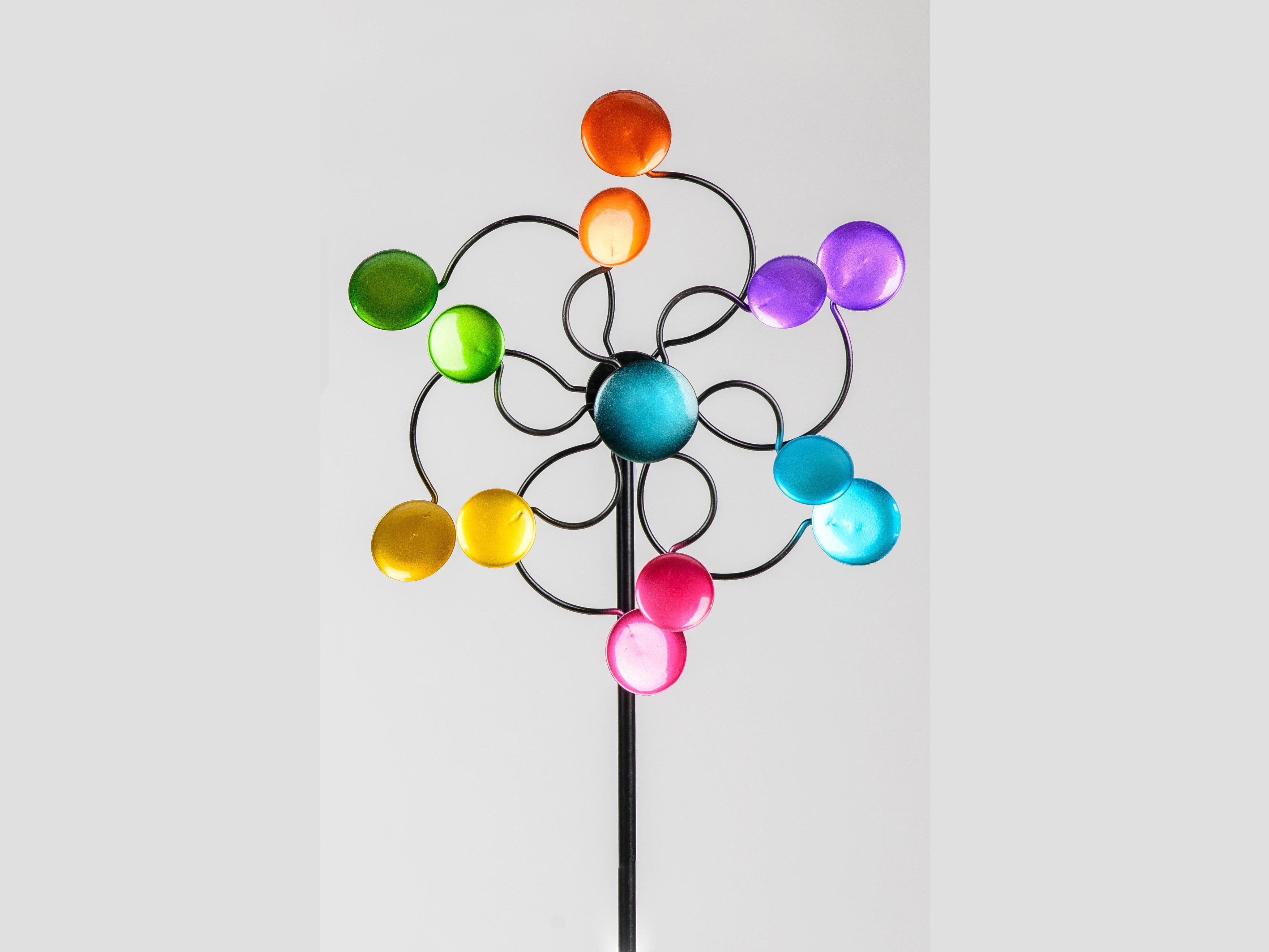 Gartenstecker Windrad mit farbenfrohen Kreisen